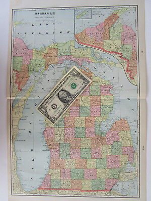 XL 1902 MI Map Michigan State Wall Map George Cram. RAILROADS. or TOLEDO OH Map