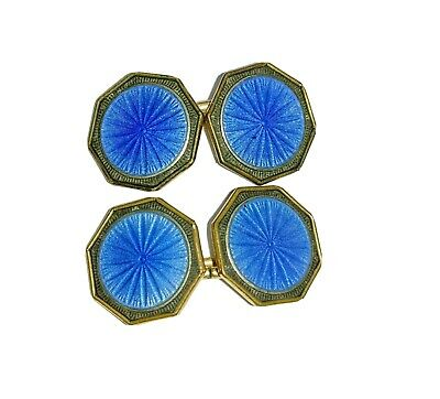 Signed Krementz Art Deco Guilloche Enamel Cuff Links Blue Cufflinks