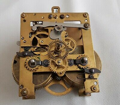 Gustav Becker Silesia Brass Clock Movement For Spares Or Repairs.