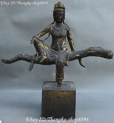 "18"" Antique Chinese Purple Bronze Gilt Kwan-yin Guanyin Quan Yin Goddess Statue"