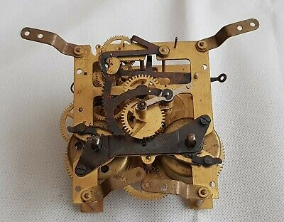 Vintage Brass Clock Movement Germany Spares Or Repairs.