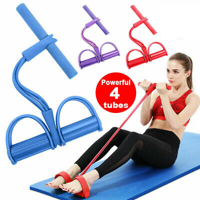 Elastic Sit Up Pull Rope Abdominal Exerciser Resistance Band 4 Tube Fitness Yoga