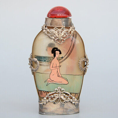 Collect China Old Miao Silver Armour Glass Inside Paint Nude Belle Snuff Bottle