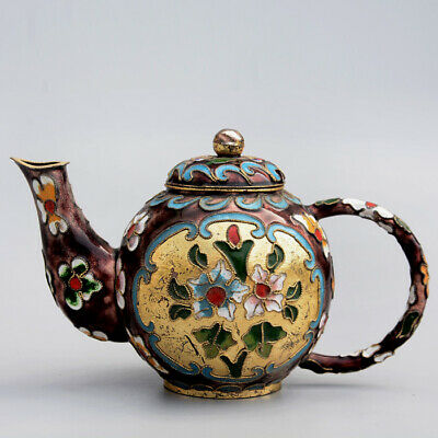 Collectable China Old Cloisonne Hand-Carved Bloomy Flower Delicate Luck Tea Pot