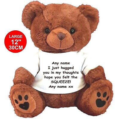"""Personalised teddy bear brown 30CM/12"""" HUG ME LOCKDOWN LONELY SAD ANY OCCASION"""