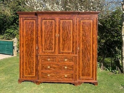 Victorian Mahogany Breakfront Four Door Wardrobe