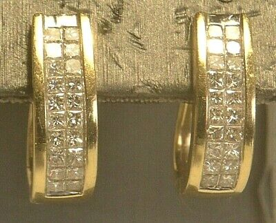 14K Yellow Gold Latch Back Diamond Earrings