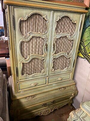 French Regency Style Vintage Partial Gilt Painted Armoire Chest Green Beautiful