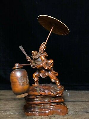 Collectable China Old Boxwood Hand-Carved Zhong Kui Marry Sister Decorate Statue