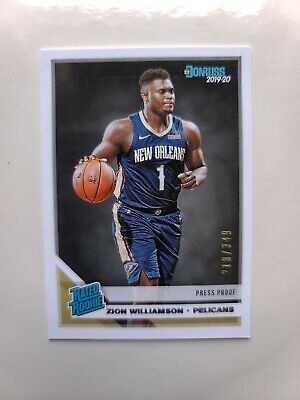2019-20 Panini Zion Williamson Donruss Rated Rookie SP /349 Card #201 Mint