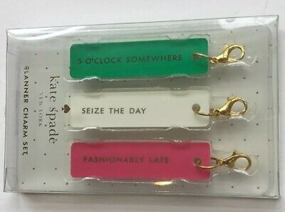 Kate Spade Planner Charms (3)-Fashionably Late, Seize The Day, 5 O'Clock  NWT