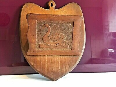 Beautiful Antique Oak Wall Hanging Letter Rack Wall Pocket With Swan Carving