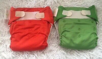 Bum Genius lot of 2 OS Pocket Cloth Diapers gently used Orange and green