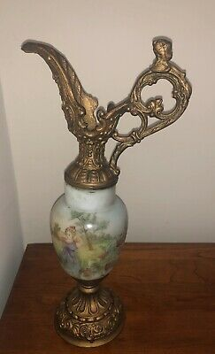 """Antique French Hand Painted Ceramic Or Porcelain?   and Bronze Ewer 13 3/4"""" high"""