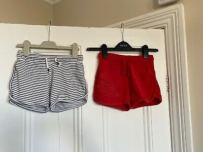 2 X Pairs Of Girls Summer Shorts From Next Sge 6 Years Red & Blue Striped