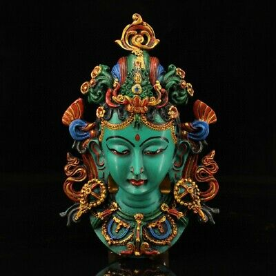Collectable China Old Turquoise Hand-Carved Buddhism Kwan-Yin Head Luck Statue