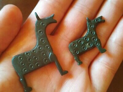 Ancient Viking Bronze Artifact Zoomorphic HORSE with Solar Runes SUPER RARE