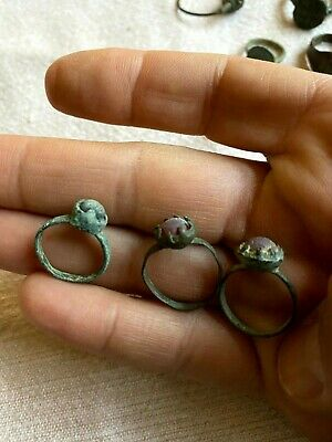 Lot of 3 Ancient Roman Rings with Ancient Glass Stones Circa 300-400 AD