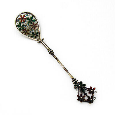 Plique A Jour Enamel Spoon Floral Finial Swedish 830 Silver 1910
