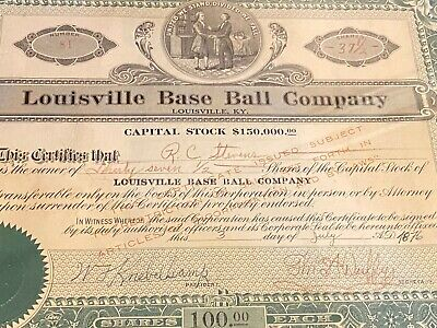 Original 1876 - Louisville Baseball Company Stock Certificate -Matted and Framed