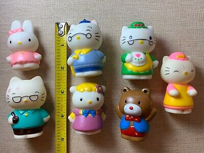 "7 Vintage 1986 Sanrio Hello Kitty Dollhouse Vinyl Mini 2-2.5"" Figures 80s"