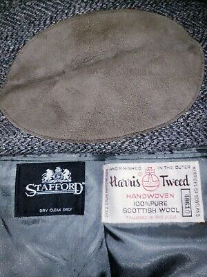 Harris Tweed Stafford Mens 46L Gray Flecked Elbow Patches WOOL Blazer/Sport Coat