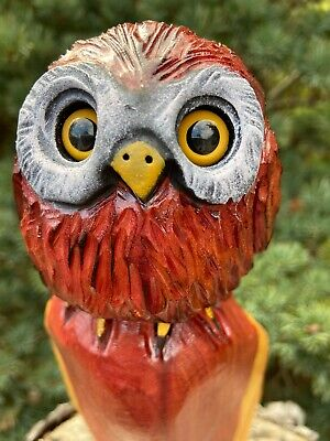 OWL Chainsaw Carving RED CEDAR WOOD Owl Chainsaw Sculpture ORIGINAL Folk Art