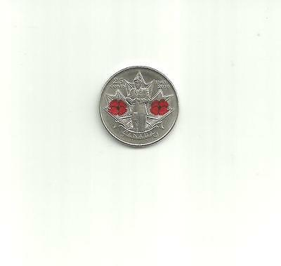 Canada 25 Cent Coin 2010 Remembrance Day - Veterans - Poppy Theme