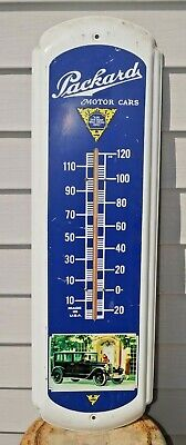 Vintage Packard Motor Cars Metal Gas Station Thermometer Advertising Sign WORKS