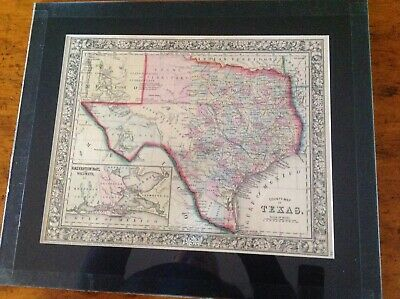 antique original 1863 map of Texas by Mitchell in GOOD CONDITION, matted/glass.