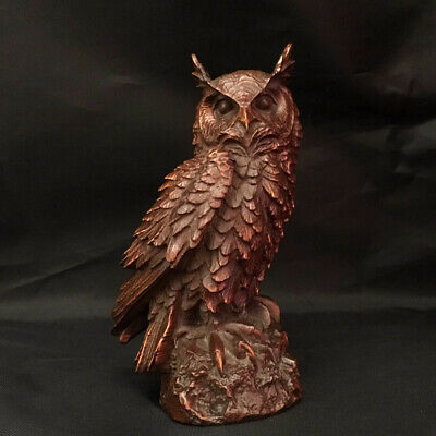 Collectable China Old Boxwood Hand-Carved Lovely Owl Delicate Decorate Statue