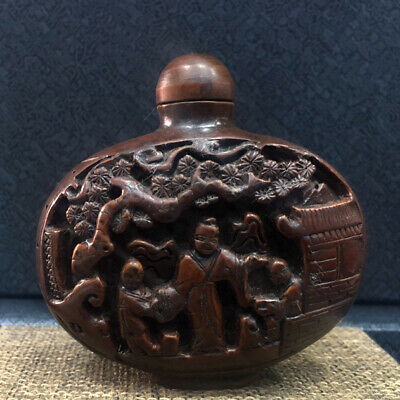 Collectable China Old Boxwood Hand-Carved Figure & Scenery Delicate Snuff Bottle