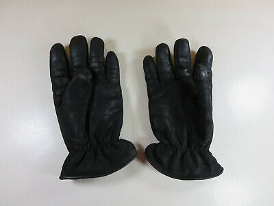Isotoner womens solid black leather fleece lined gloves S EUC