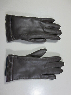 Stetson womens brown lined vinyl winter gloves L EUC