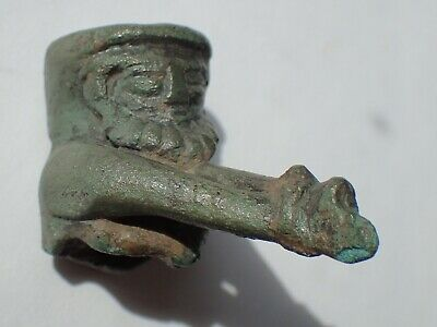 Greek, ca. 5th to 4th Century BC. Bronze spout in the form of a slave, Very Rare