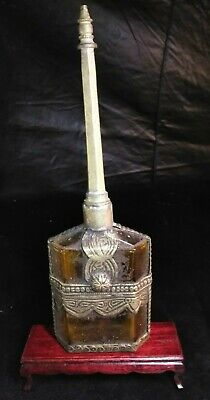 19c ROSS WATER JAR BRONZE BOTTLE PERFUME CARVED SNUFF BOTTLE Statue PEKING GLASS