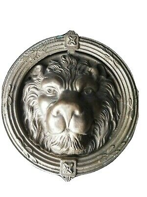 DOOR KNOB huge Chinese CARVED BRONZE VIP LION Statue QING D Figurine BUST 9""