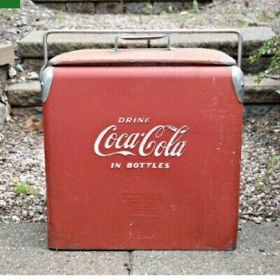 1950's DRINK COCA-COLA  IN BOTTLES ACTON ALUMINUM COOLER.BOTTLE OPENER,TRAY,PLUG