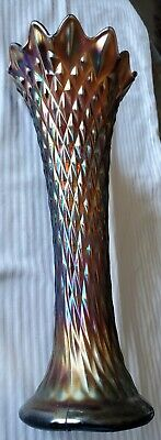 Antique Northwood Carnival Glass Vase Diamond Point Fluted 12- Point Multi-Color