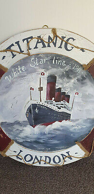 500mm wooden titanic crackle painted platter wall hanging picture