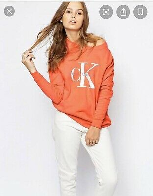 CALVIN KLEIN JEANS - Orange Logo Sweatshirt - SIZE Small