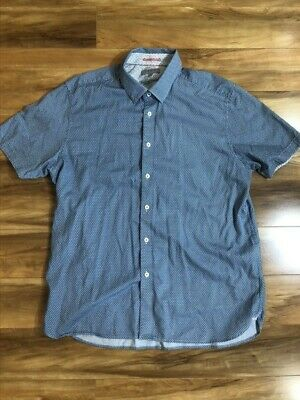 Ted Baker London Short Sleeve Shirt Mens 6 Slim Fit Elephant Print NWT