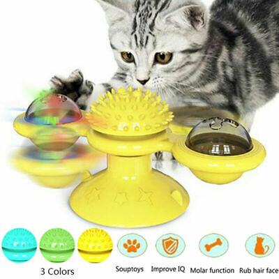Windmill Cat Toy Turntable Teasing Pet Toy Tickle Cats Hair Brush Funny Cat Toy