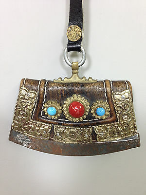 Tibetan Flint Leather Coral Turquoise Silver Flint Case