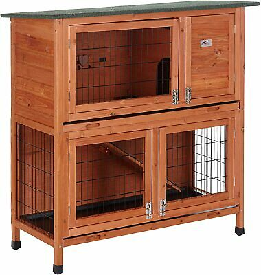 Deluxe Double Decker Rabbit Guinea Hutch Hutches With Legs 2 Tier 41-Ddl-Nt