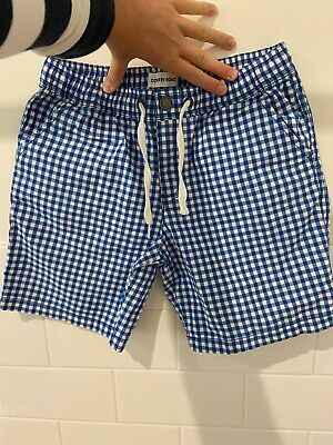 country road blue and white checked shorts