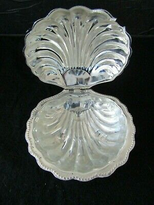 """Vintage Art Deco BUTTER DISH, Hinged epns """"Oyster Shell"""" with Glass Dish insert"""