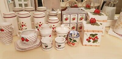 Strawberry Collectibles, cannisters, spice rack, Mikasa tea set, etc