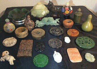 Chinese White Jade Jadeite Cup Agate Box Lot Imperial Carved Snuff Bottle Statue