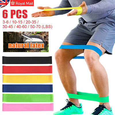 6PCS Resistance Bands Loop Natural Latex HOME&GYM Fitness 5-70lbs Resistance NEW